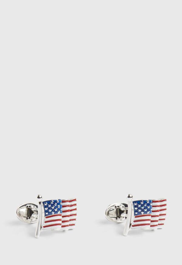 Enameled American Flag Cufflinks, image 1