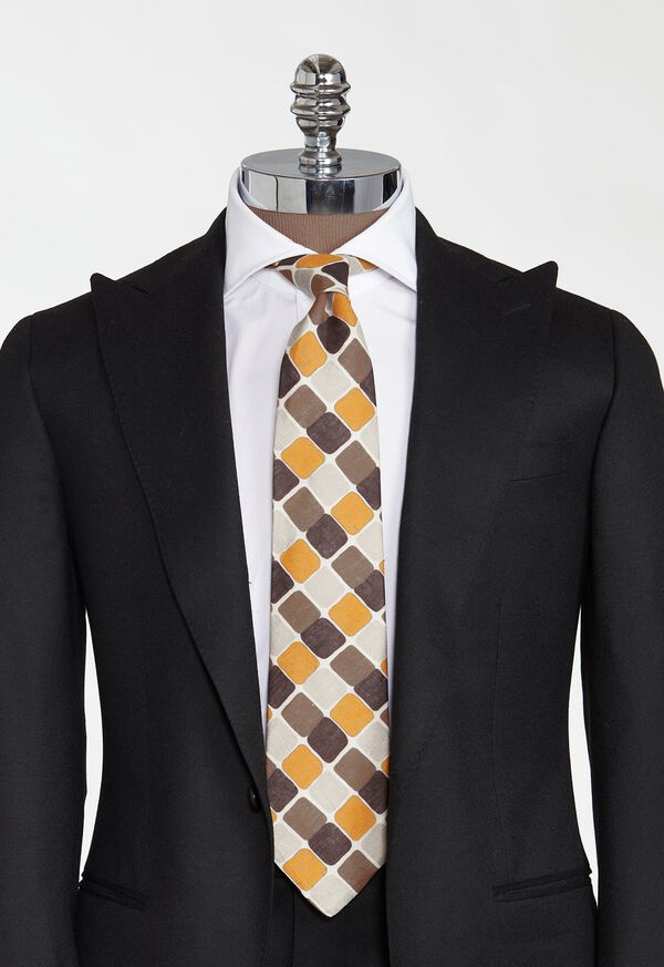 Printed Curved Squares Tie, image 2