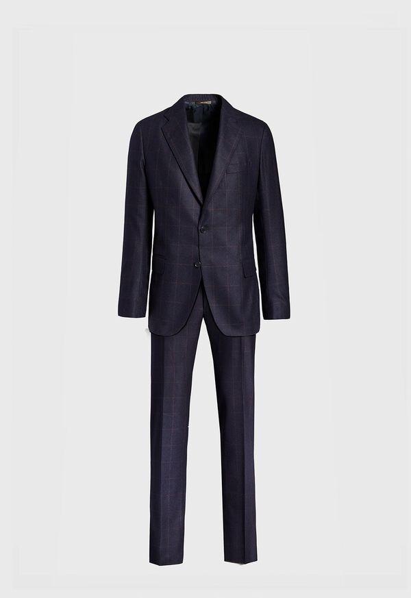 Soft Shoulder Wool Windowpane Suit, image 1