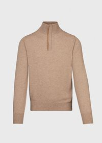 Cashmere 1/4 Zip Sweater with Suede Under Placket, thumbnail 1