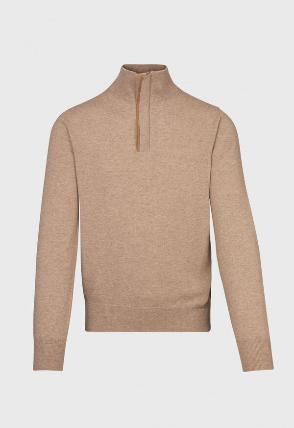 Cashmere 1/4 Zip Sweater with Suede Under Placket, image 1