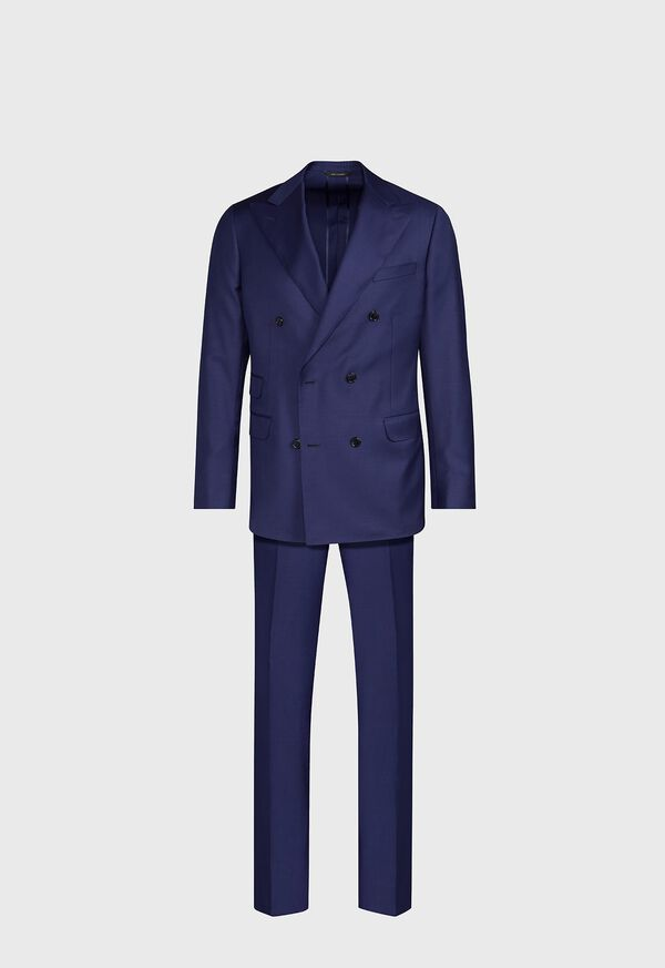Solid Navy Double Breasted Suit