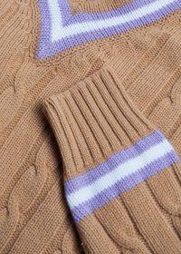 V-neck Cable Knit Sweater, thumbnail 2