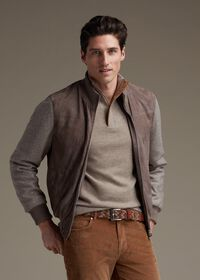 Cashmere 1/4 Zip Sweater with Suede Under Placket, thumbnail 3
