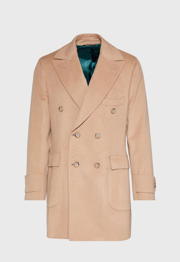 Camel Hair Double Breasted Short Coat, image 1