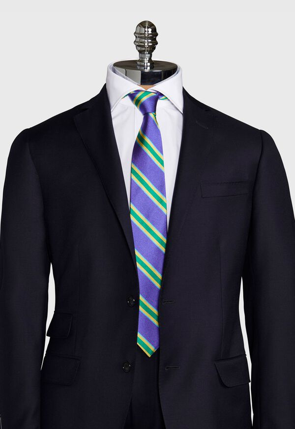 Regimental Stripe Silk Tie, image 2