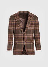 Oatmeal and Rose Wool Blend Plaid Sport Jacket, thumbnail 1