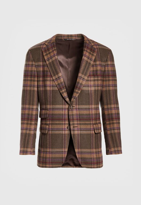 Oatmeal and Rose Wool Blend Plaid Sport Jacket, image 1