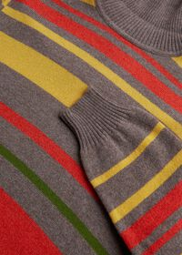 Cashmere Multi Color Stripe Turtleneck, thumbnail 2