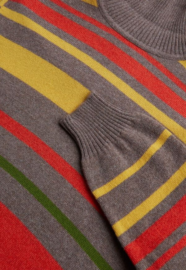 Cashmere Multi Color Stripe Turtleneck, image 2