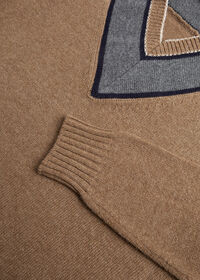 Lambswool Sweater with Grey V-Neck, thumbnail 2