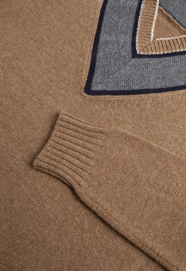 Lambswool Sweater with Grey V-Neck, image 2