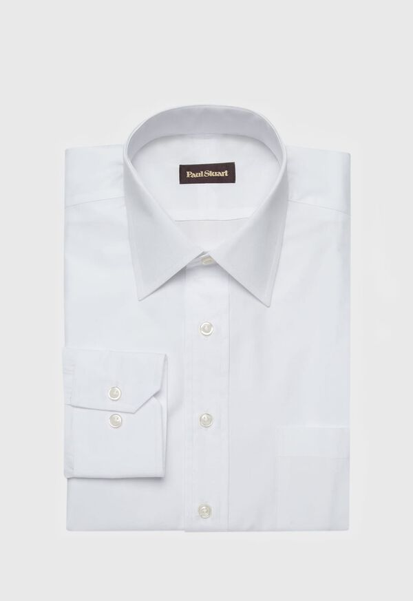 White Broadcloth Cotton Dress Shirt, image 1