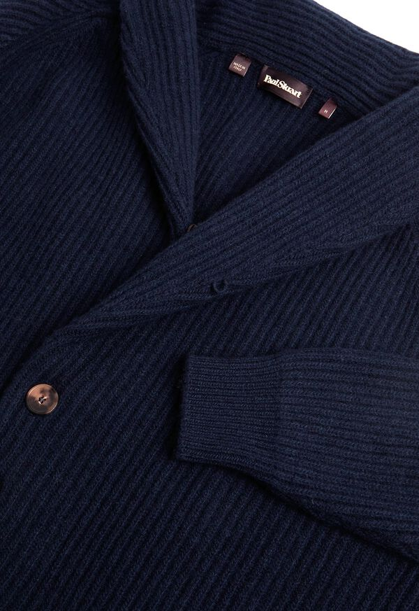 Ribbed-Knit Shawl Collar Cardigan, image 3