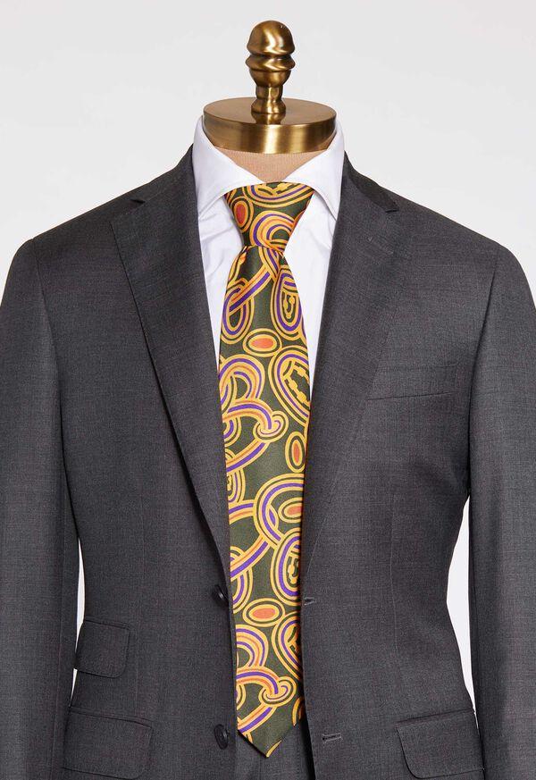 Oval Deco Print Silk Tie, image 2