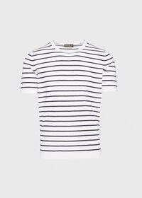 Striped Short Sleeve Open Bottom Knit Top, thumbnail 1