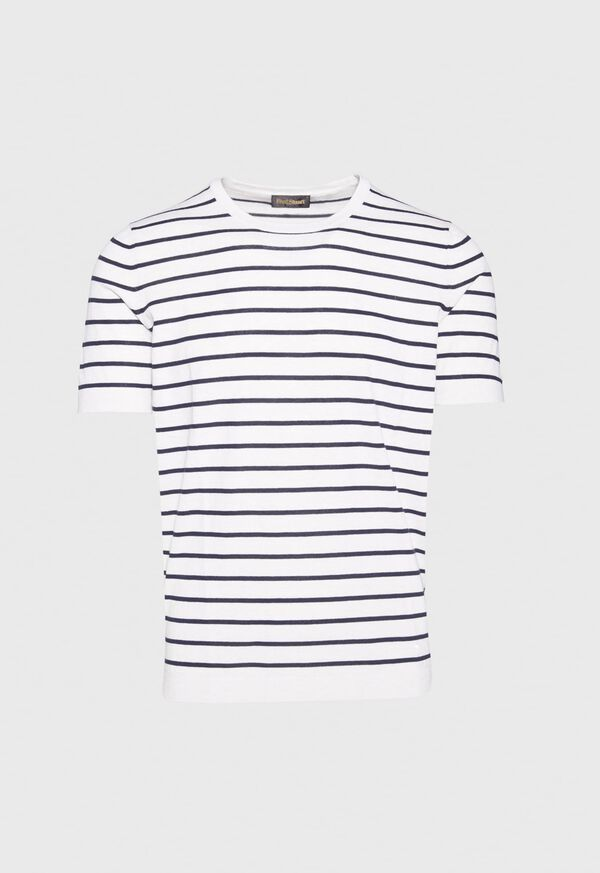 Striped Short Sleeve Open Bottom Knit Top, image 1