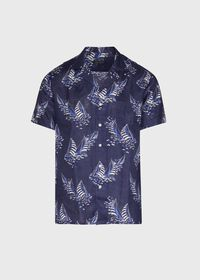 Linen Indigo Boat Print Camp Shirt, thumbnail 1