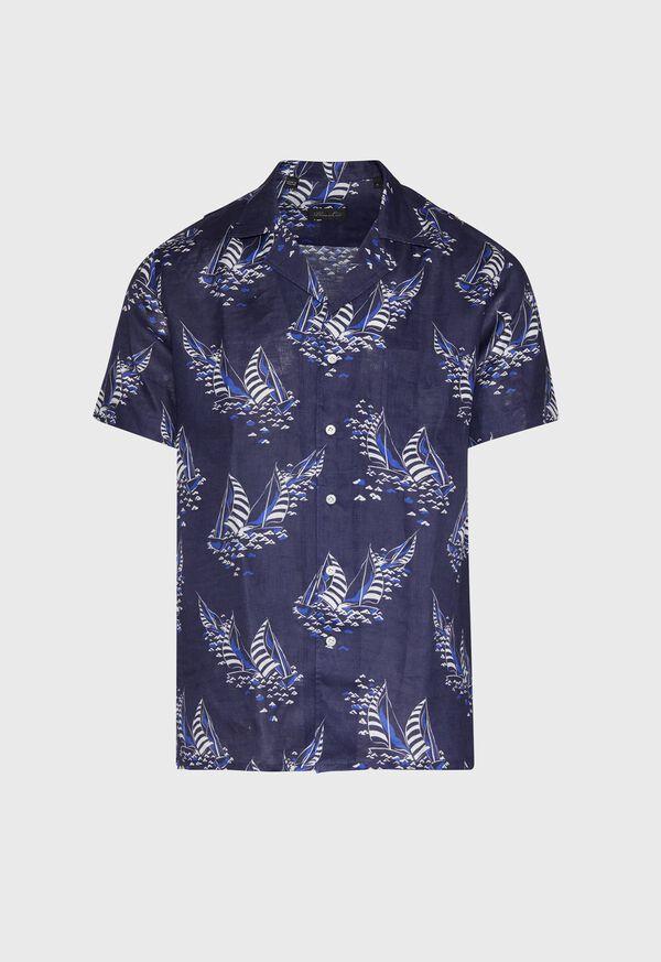 Linen Indigo Boat Print Camp Shirt, image 1