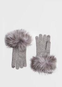 Touchscreen Fox Fur Trim Glove, thumbnail 1