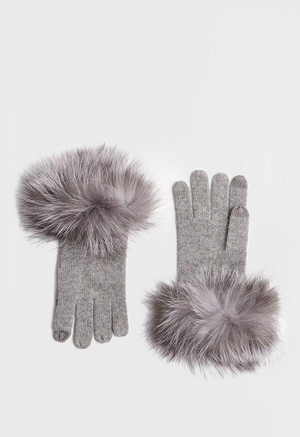 Touchscreen Fox Fur Trim Glove, image 1