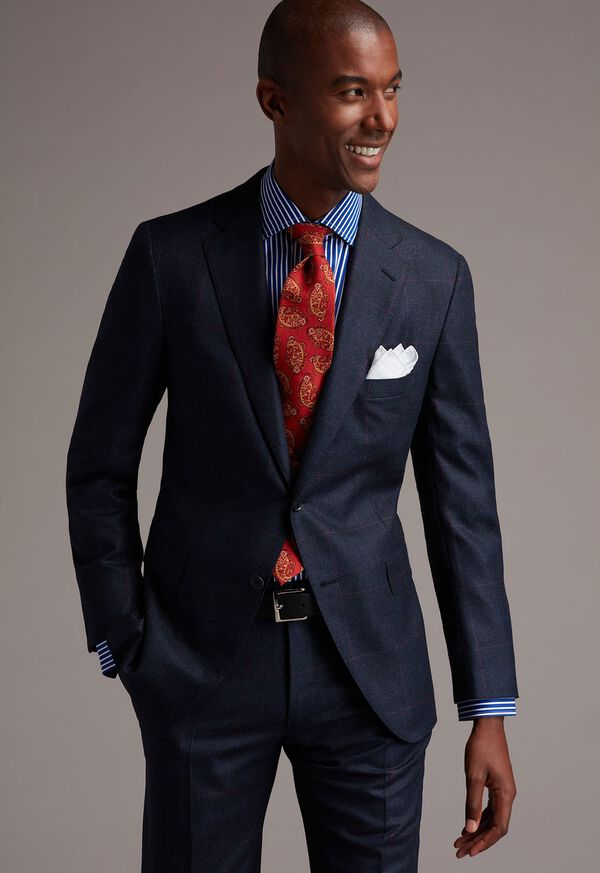 Slim Fit Blue Bold Bengal Stripe Dress Shirt, image 3