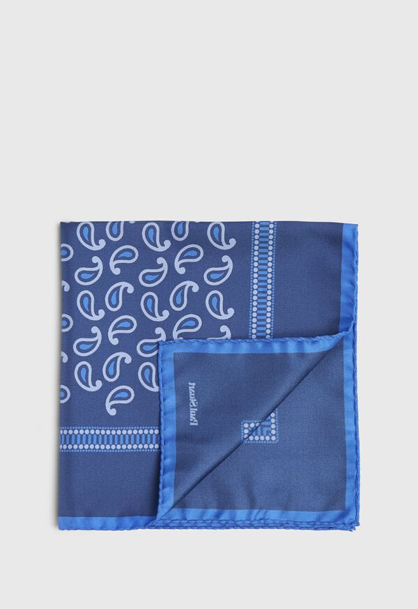 Tossed Pine Dotted Border Pocket Square