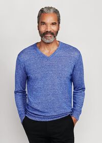 Linen and Cashmere Marled V-neck Sweater, thumbnail 1