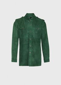 Solid Green Suede Shirt, thumbnail 1