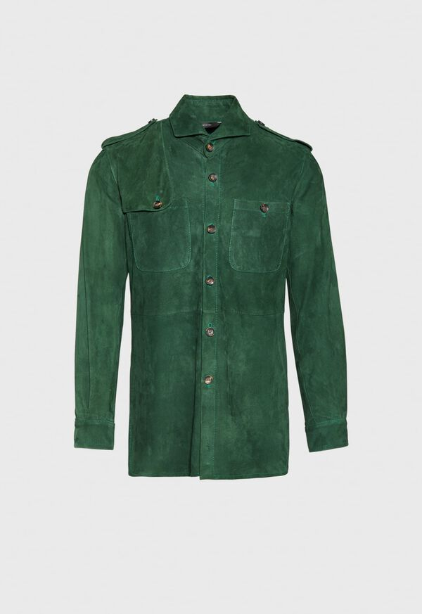 Solid Green Suede Shirt, image 1