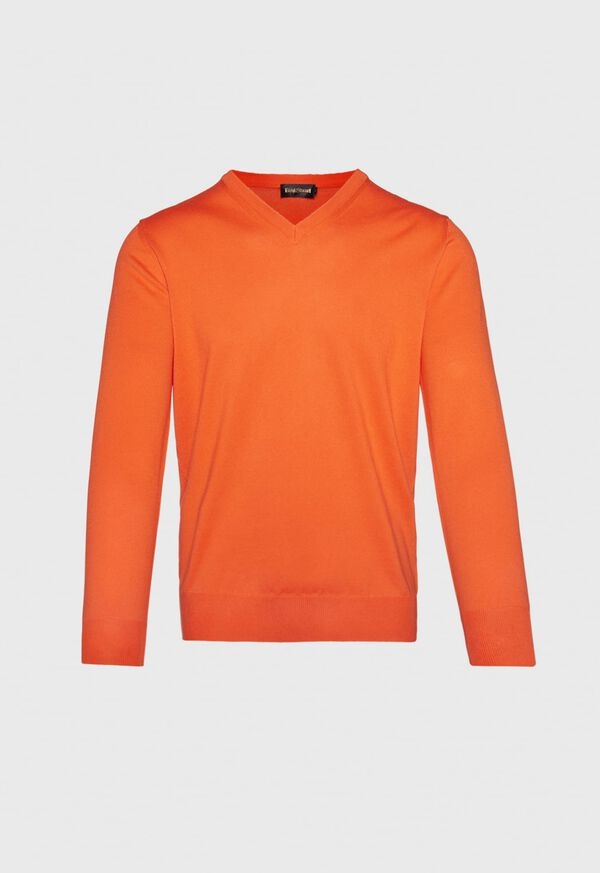 Cotton V- Neck Sweater, image 1