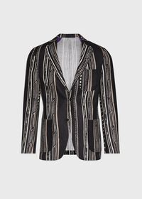 Black and Tan Linen Stripe Jacket, thumbnail 1