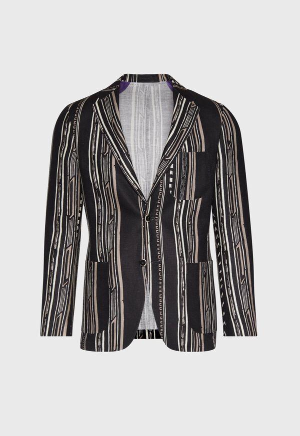 Black and Tan Linen Stripe Jacket