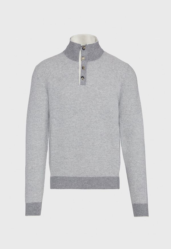 Cashmere Two-Tone Mock Neck Sweater, image 1