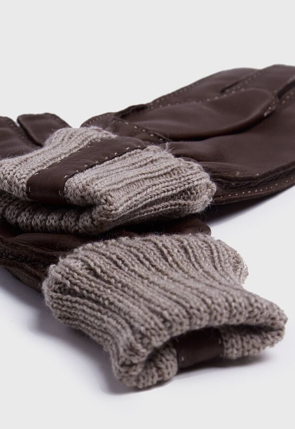 Deerskin Glove with Cashmere Ribbed Cuff, image 2