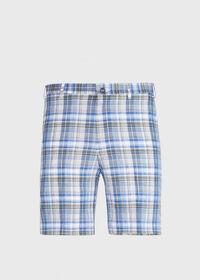 Dark Blue Plaid Walk Shorts, thumbnail 1