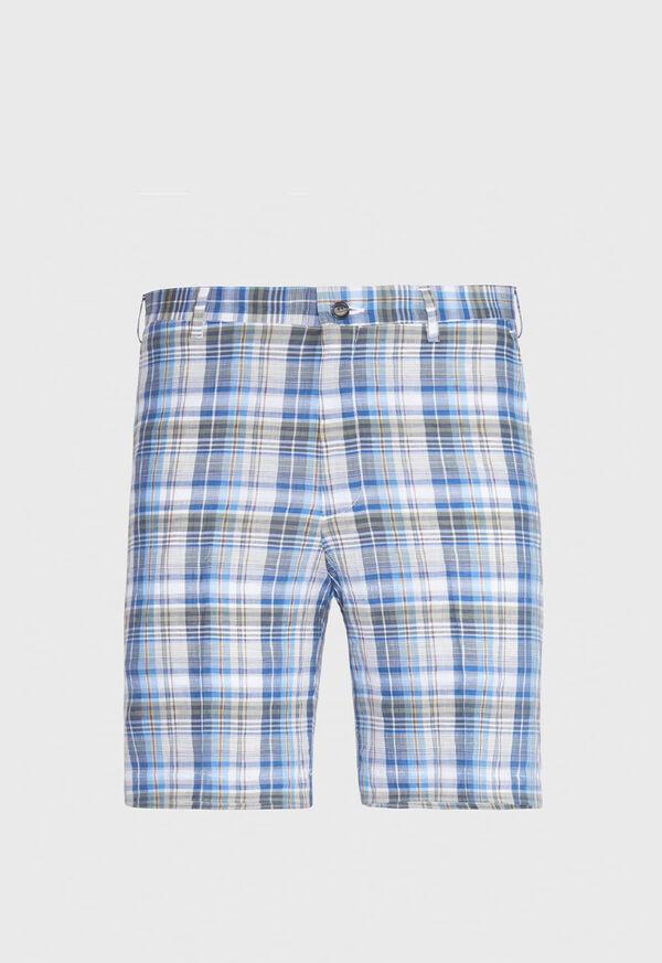 Dark Blue Plaid Walk Shorts, image 1