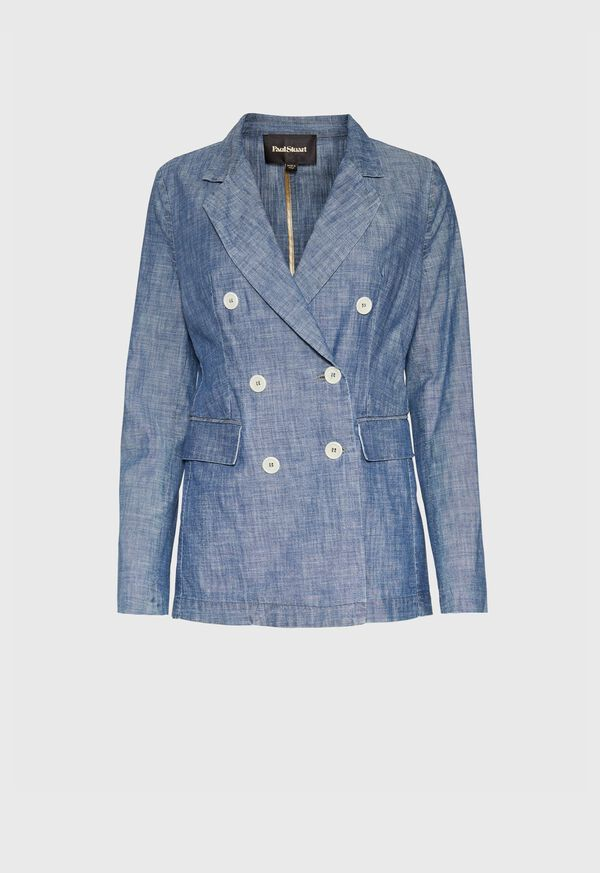 Chambray Double Breasted Blazer, image 1