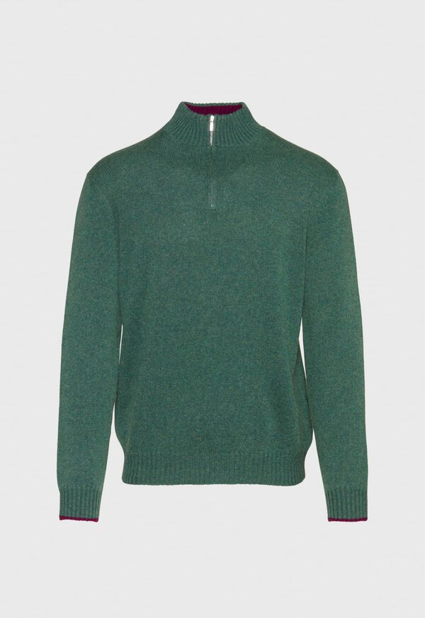 Cashmere Quarter Zip Mock Neck Sweater, image 1