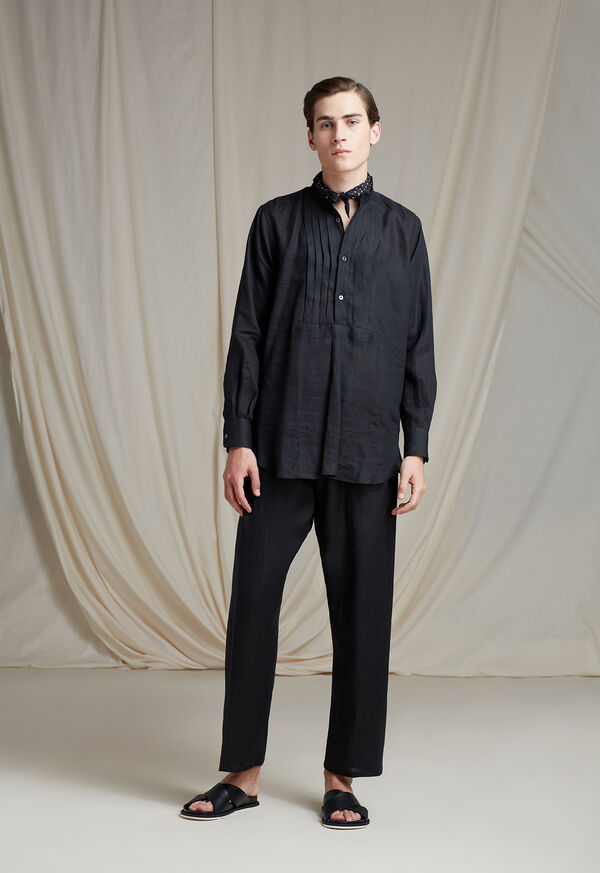 Black Linen Pleated Pull Over Lounge Set, image 6