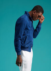 Suede Bomber Jacket with Knit Trim, thumbnail 2