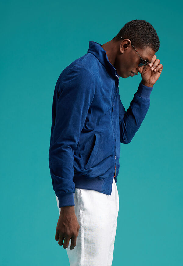 Suede Bomber Jacket with Knit Trim, image 2