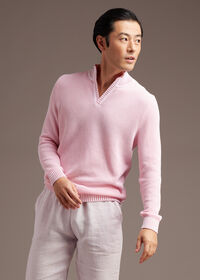 Cotton Open Collar Birdseye Stitch Sweater, thumbnail 2
