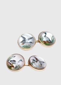 14K Gold Reverse Painted Duck Cufflinks, thumbnail 1