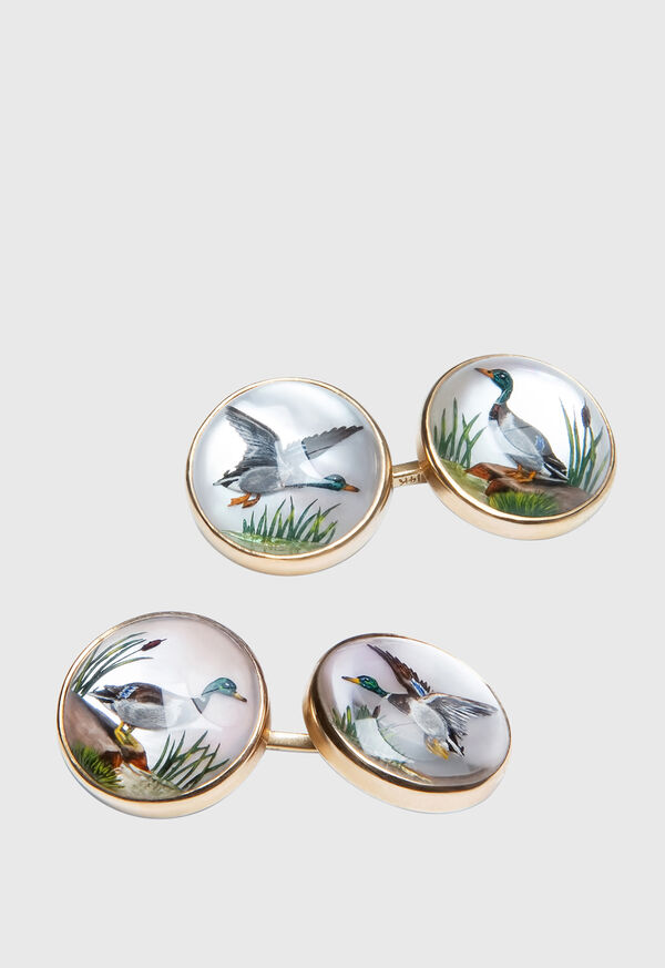 14K Gold Reverse Painted Duck Cufflinks, image 1