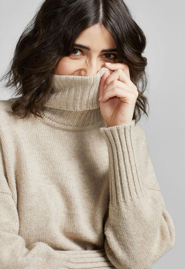 Cashmere Cropped Turtleneck Sweater, image 4