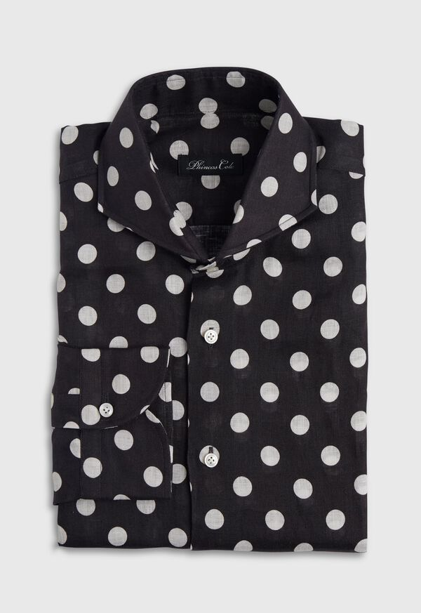 Black and White Dot Linen Shirt, image 1
