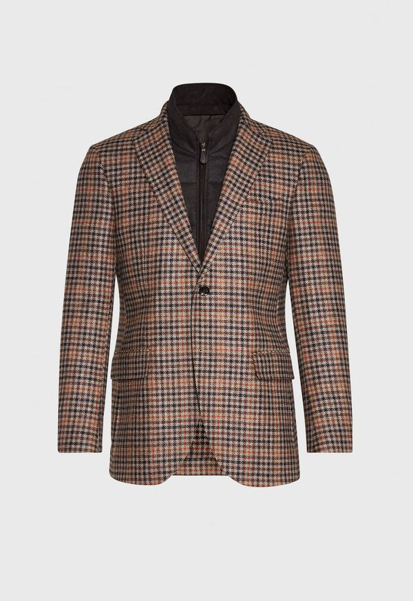 Plaid Travel Jacket with Suede Vest