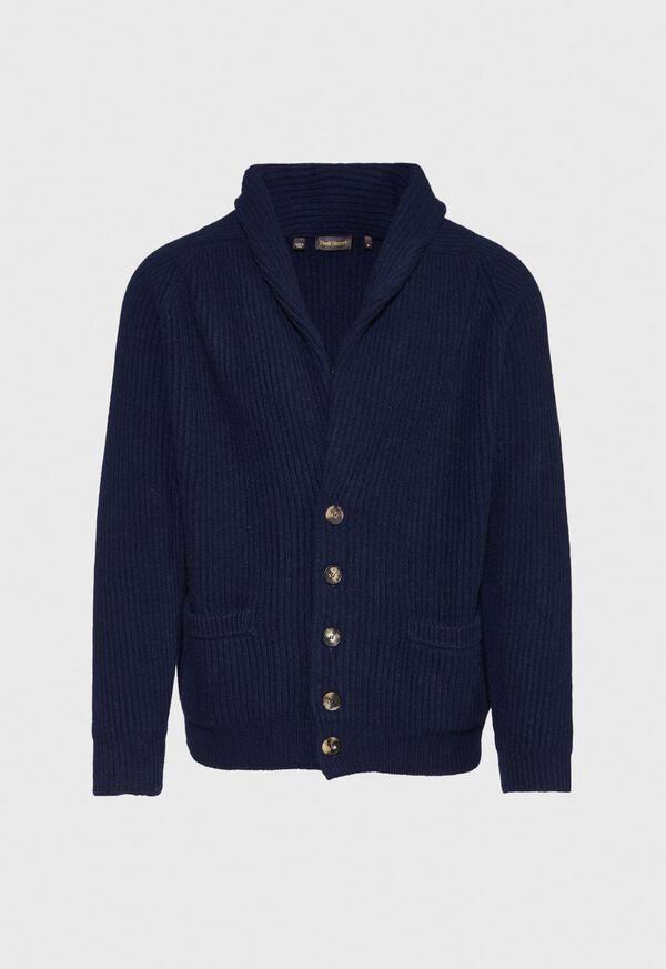 Ribbed-Knit Shawl Collar Cardigan, image 1