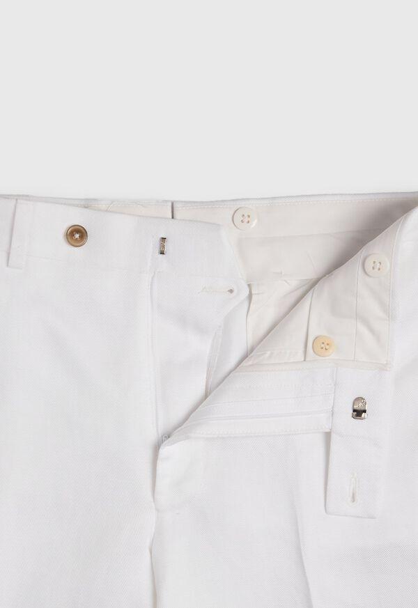 White Solid Linen & Cotton Pant, image 2